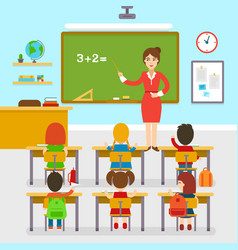 School classroom with teacher and pupils vector