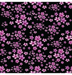 Seamless floral pattern on black background vector