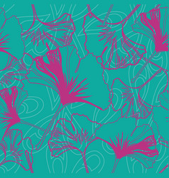 Seamless pattern ginko wax with pink ginkgo vector