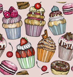 seamless pattern with ice cream and sweet cupcake vector image