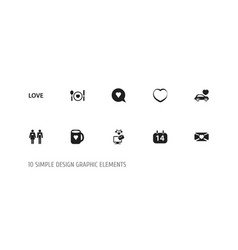 set of 10 editable love icons includes symbols vector image