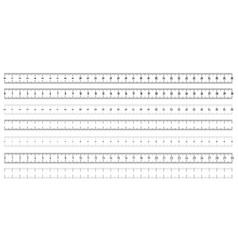 set of both side horizontal rulers - lenght and vector image
