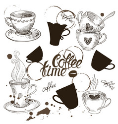 set of grunge coffee cup vector image