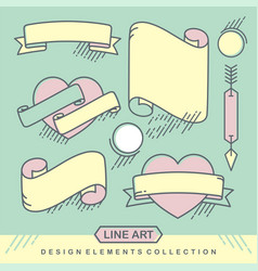 Set of old vintage love ribbon template banners vector