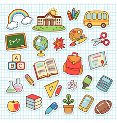 Shool objects set vector
