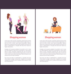 Shopping woman female shopaholic shoes mannequin vector