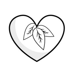 Silhouette heart with leaves inside vector