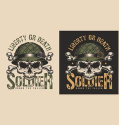 skull in soldier helmet t-shirt print concept vector image