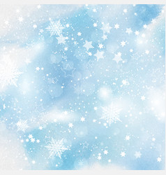 snowflakes and stars on watercolour background vector image