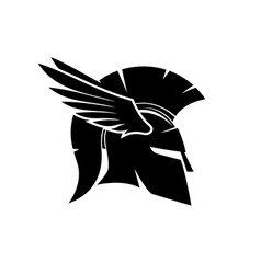 Spartan helmet with wings vector