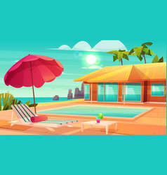 Summer leisure on tropical resort cartoon vector