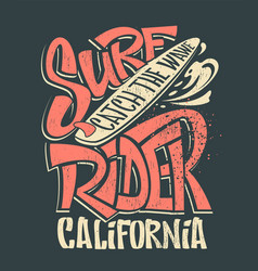 surf rider print t-shirt graphic design vector image