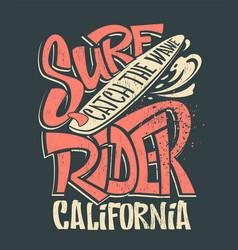 surf rider print t-shirt graphic design vector image