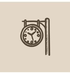 Train station clock sketch icon vector
