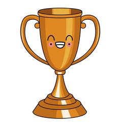 trophy cup symbol kawaii cute cartoon vector image