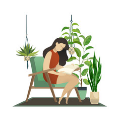 urban jungle woman reading and knitting lady vector image