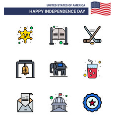 Usa happy independence daypictogram set 9 vector