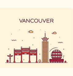Vancouver city skyline canada linear style vector