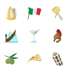 Venice icons set cartoon style vector image