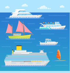 Water transport with ship liner boat vector