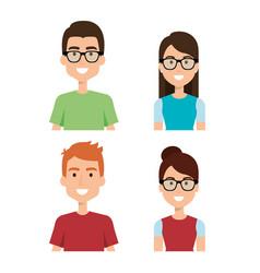 woman and man characters vector image