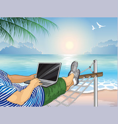 Working on beach with a laptop vector