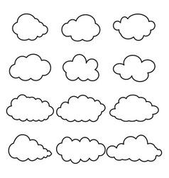 black contour clouds vector image