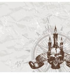 compass rose and piracy skull vector image