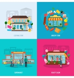Different stores icons set vector image