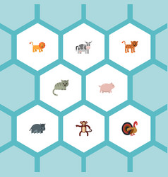 flat icons gobbler panther hippopotamus and vector image vector image
