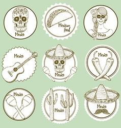 Sketch Mexican logotypes vector image vector image