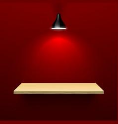 Wooden shelf illuminated by lamp vector image