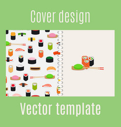 cover design with sushi pattern vector image vector image