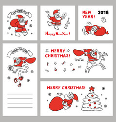 cute set sketch of funny santa vector image vector image