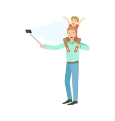 Father with kid on shoulders taking picture with vector