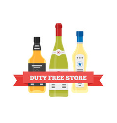Flat icon of duty free alcohol at airport vector