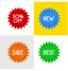 four disccount round badges vector image vector image