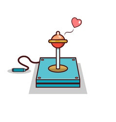 Isolated cartoon joystick with condom for safe sex vector