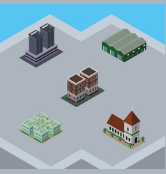 isometric building set of tower house warehouse vector image vector image