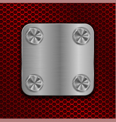 square metal plate on red perforated background vector image