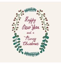 Christmas wreath hand drawn color vector image