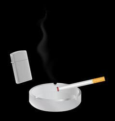 cigarette lighter and ashtray vector image