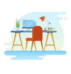 concept of workplace with computer and office vector image vector image