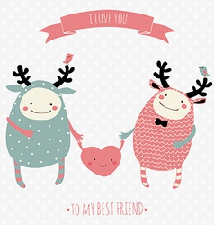 cute romantic cartoon card with lovely monsters vector image vector image