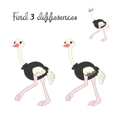 Find differences kids layout for game ostrich vector