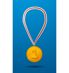 Gold medal for first place with tape icon vector image