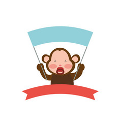 monkey cartoon banner holding animal vector image vector image