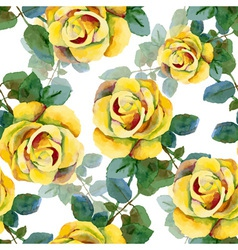 Seamless background with yellow roses vector image