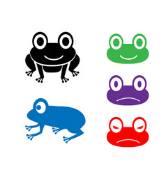 set of frog icon in cartoon style vector image