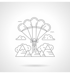 Skydiving in mountains detailed line icon vector